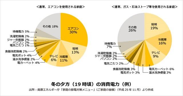 冬の電気代の割合グラフ